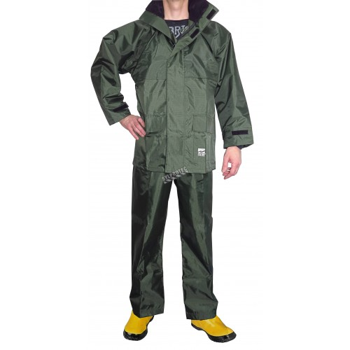 Viking green PVC Open Road® 150D waterproof & windproof polyester rainwear 3-piece kit for heavy rains (S to 3XL)