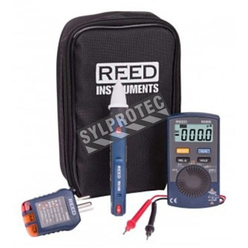 Trousse combo pour tests électriques sur circuits résidentiels, avec 3 instruments et sac de transport.