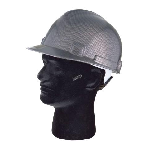 Casque de sécurité avec motif fibre de carbone, type 1 classe E, coiffe à 4 points d'attache. Vendu à l'unité.