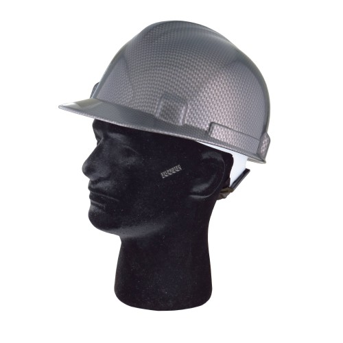 Safety hard hat with carbon fiber pattern decal, type 1 class E, 4-point suspension. Sold individually.