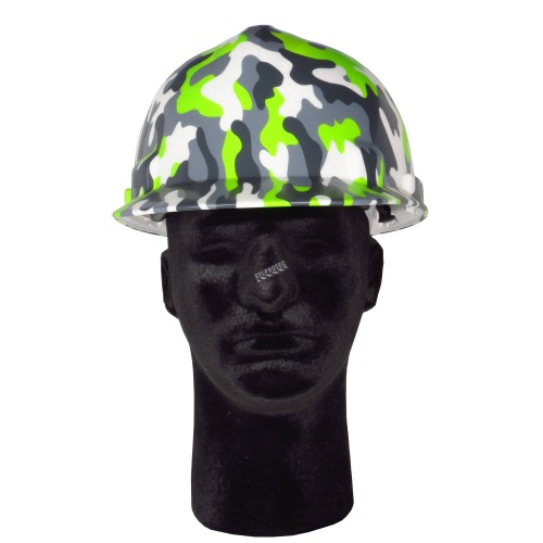 Safety hard hat with modern camouflage decal, type 1 class E, 4-point suspension. Sold individually.
