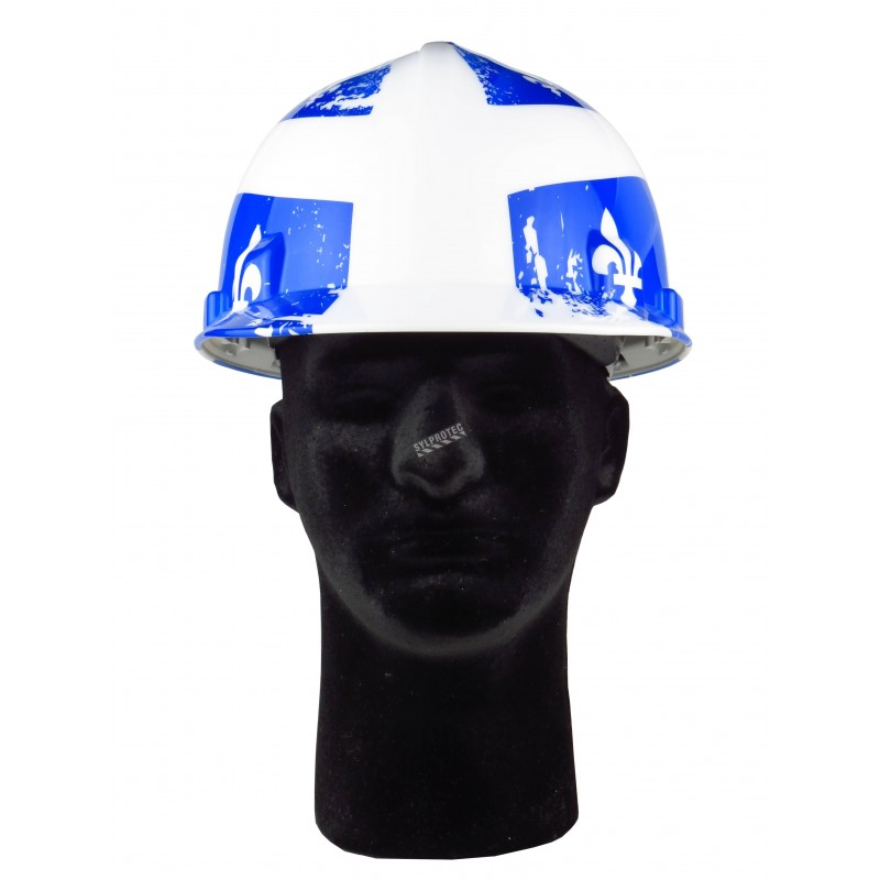 Safety hard hat with Quebec flag decal, CSA type 1 class E, 4-point suspension. Sold individually.
