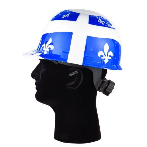Safety hard hat with Quebec flag decal, type 1 class E, 4-point suspension. Sold individually.