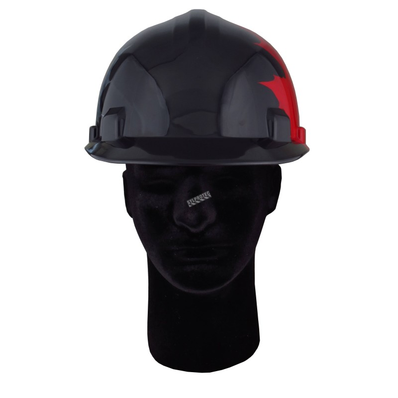Safety hard hat with Canadian maple leaves decal, meets  CSA type 1 class E, 4-point suspension. Sold individually.