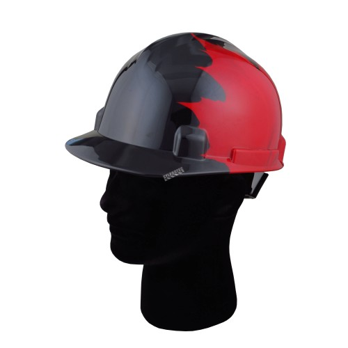 Safety hard hat with Canadian maple leaves decal, CSA type 1 class E, 4-point suspension. Sold individually.