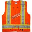 Veste d'arpenteur économique en polyester orange fluo avec 11 poches, CSA Z96-15 classe 2 niveau 2.