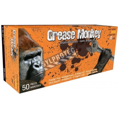 Gants Grease Monkey en latex bleu de 15 mils, sans poudre, approuvés par l'ACIA. Tailles M (8) à XXL (11). Boîte de 50 gants.