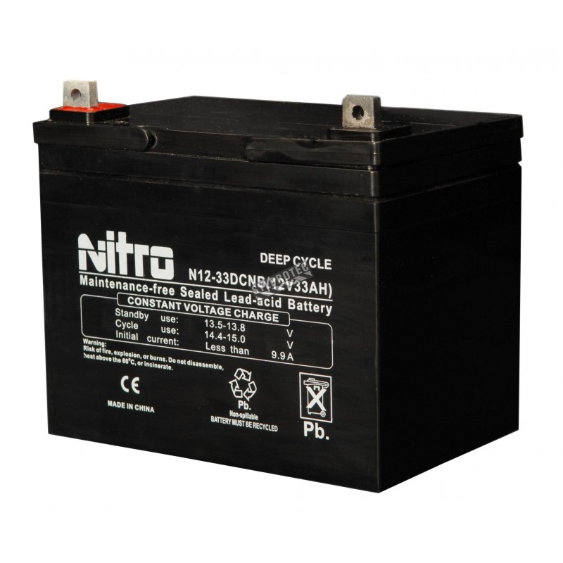 Emergency light unit battery 12 volts 33 amperes
