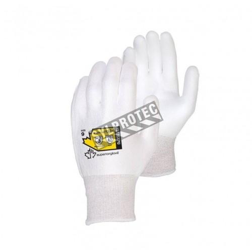 Gant Superior Touch® blanc en Dyneema enduit de PU. Indice ASTM/ANSI de résistance à la perforation 3 & à la coupure A2.