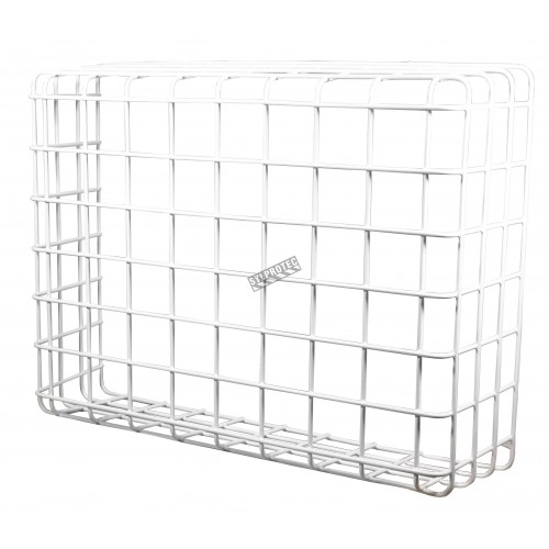Wire mesh protective cage guard for emergency lights and other exposed equipment.