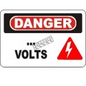 """French OSHA """"Danger… Volts"""" sign to be customized: various sizes, materials, languages & optional features"""