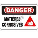 Affiche OSHA «Danger Matières corrosives» en français: langues, options, formats & matériaux variés