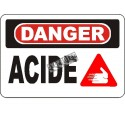 """French OSHA """"Danger Acid"""" sign in various sizes, materials, languages & optional features"""