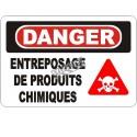 Affiche OSHA «Danger Entreposage de produits chimiques» en français: langues, options, formats & matériaux variés