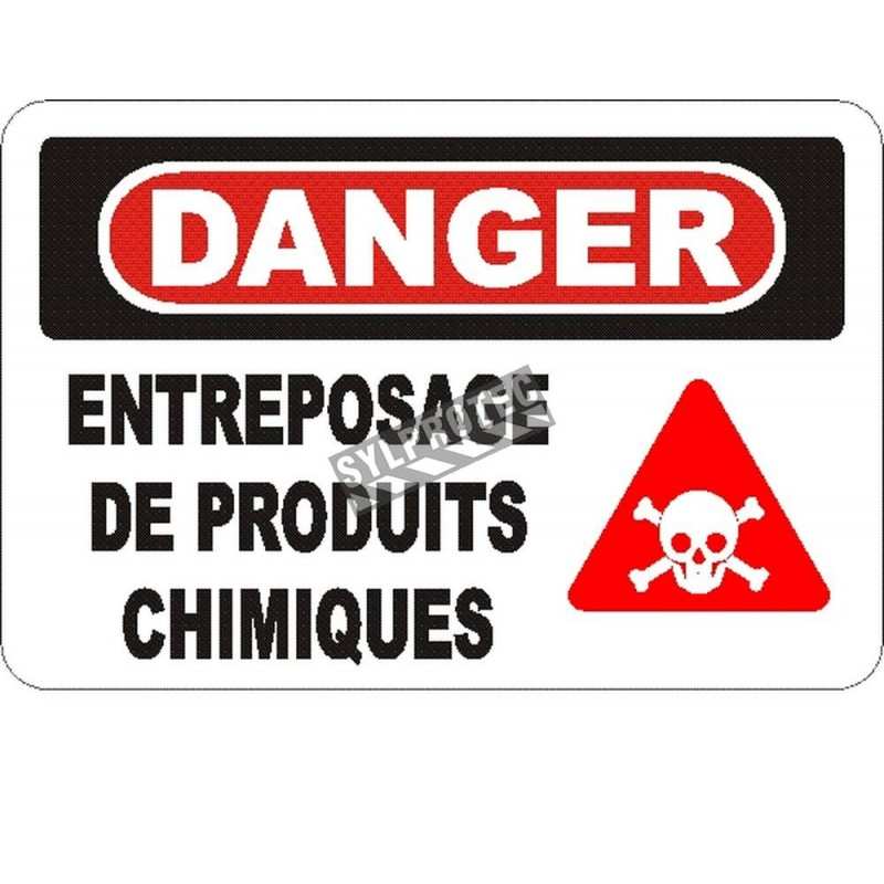 """French OSHA """"Danger Chemical Storage Area"""" sign in various sizes, materials, languages & optional features"""