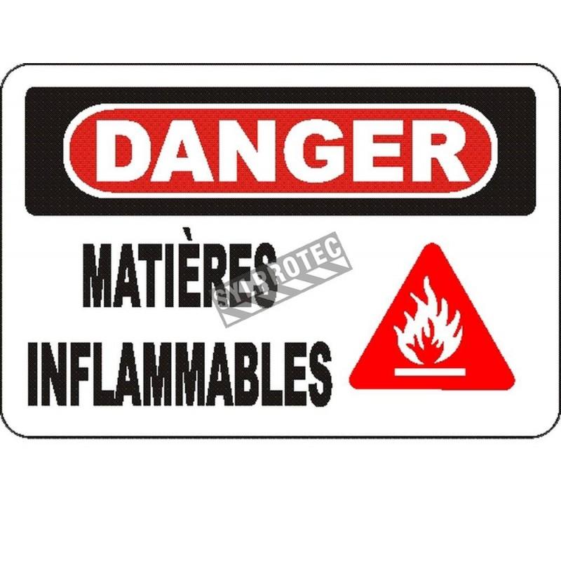 Affiche OSHA «Danger Matières inflammables» en français: langues, options, formats & matériaux variés