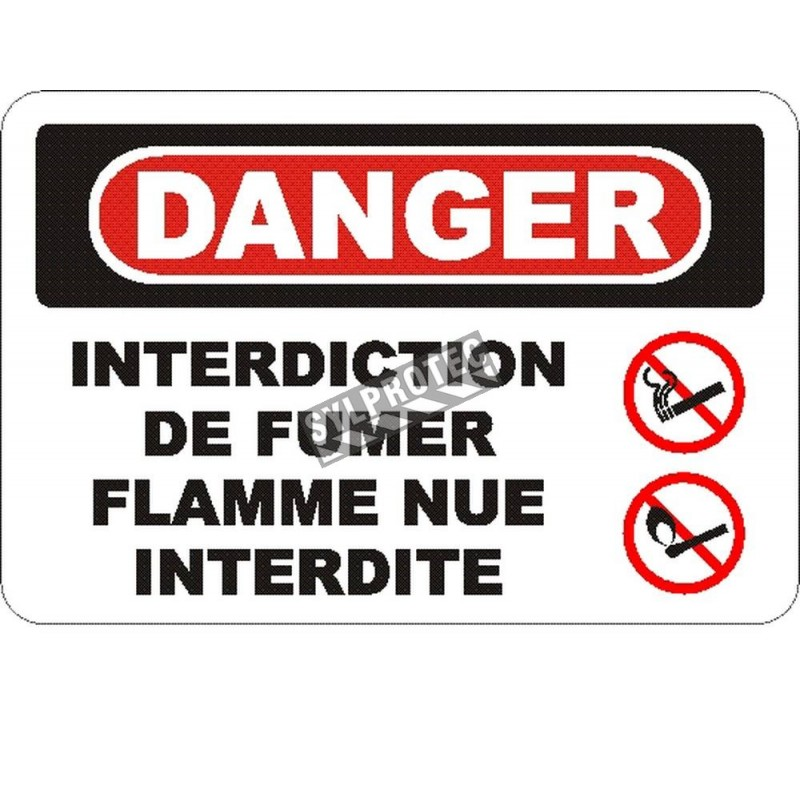 """French OSHA """"Danger No Smoking, Matches or Open Lights"""" sign in various sizes, materials, languages & optional features"""