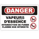 Affiche OSHA «Danger Vapeurs d'essence Interdiction de fumer Flamme nue interdite»: langues, options, formats & matériaux variés