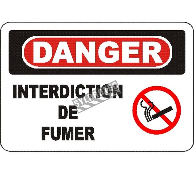 Affiche OSHA «Danger Interdiction de fumer» en français: langues, options, formats & matériaux variés