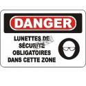 Affiche OSHA «Danger Lunettes de sécurité obligatoires dans cette zone»: langues, options, formats & matériaux variés