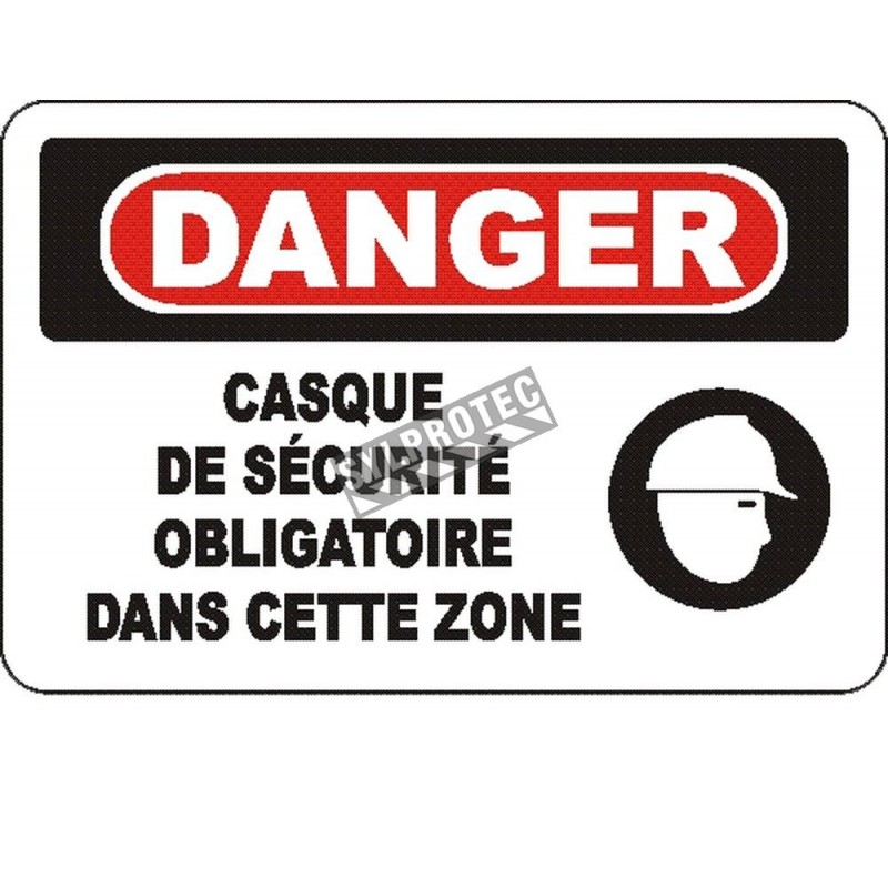 """French OSHA """"Danger Safety Helmet Mandatory in This Zone"""" sign in various sizes, materials, languages & optional features"""
