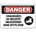Affiche OSHA «Danger Chaussures de sécurité obligatoires dans cette zone»: langues, options, formats & matériaux variés