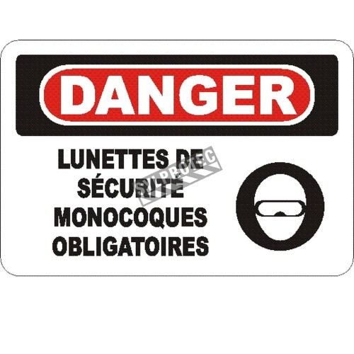 "French OSHA ""Danger Safety Goggles Mandatory in This Zone"" sign in various sizes, materials, languages & optional features"