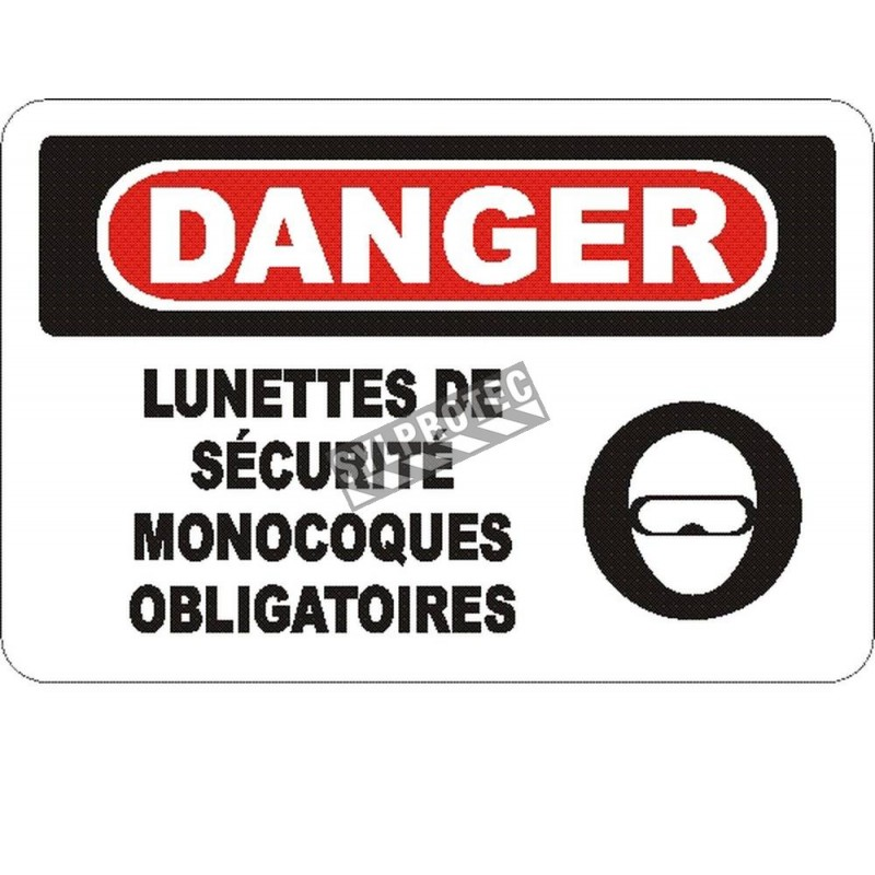 """French OSHA """"Danger Safety Goggles Mandatory in This Zone"""" sign in various sizes, materials, languages & optional features"""