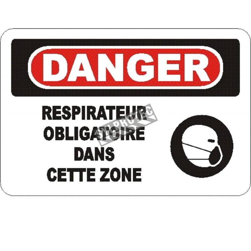Affiche OSHA «Danger Respirateur obligatoire dans cette zone» en français: langues, options, formats & matériaux variés