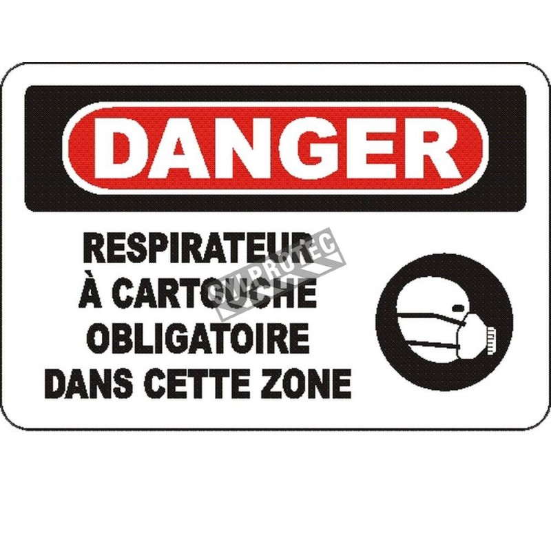 """French OSHA """"Danger Cartridge Respirator Mandatory in This Zone"""" sign in various sizes, materials, languages & optional features"""