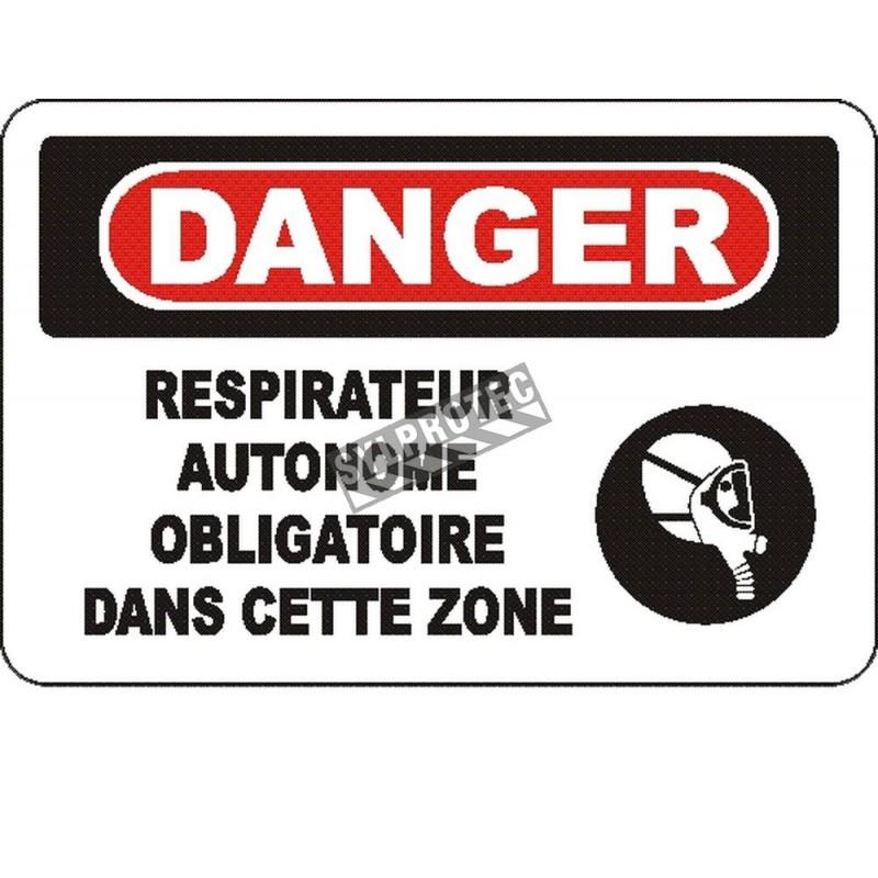 Affiche OSHA «Danger Respirateur autonome obligatoire dans cette zone»: options, formats & matériaux variés