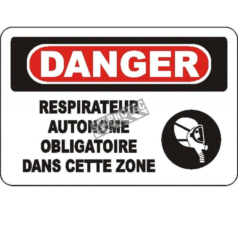 """French OSHA """"Danger Self-Contained Breathing Apparatus Mandatory in This Zone"""" sign: many sizes, materials, languages & options"""