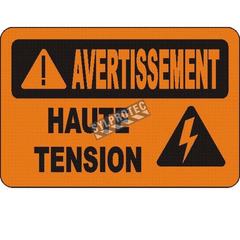 """French OSHA """"Warning High Voltage"""" sign in various sizes, materials, languages & optional features"""
