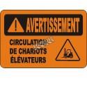 Affiche OSHA «Avertissement Circulation de chariots élévateurs» en français: langues, options, formats & matériaux variés