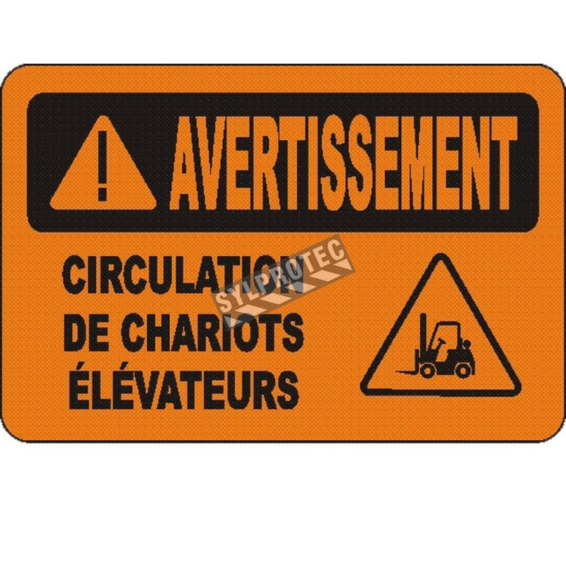 """French OSHA """"Warning Look Out for Fork Lift"""" sign in various sizes, materials, languages & optional features"""