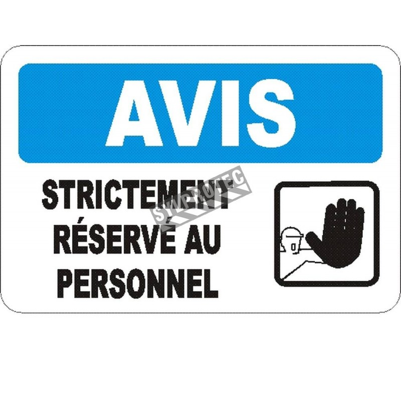 """French OSHA """"Notice Employees Only Beyond This Point"""" sign in various sizes, materials, languages & optional features"""