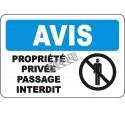 Affiche OSHA «Avis Propriété privée Passage interdit» en français: langues, options, formats & matériaux variés