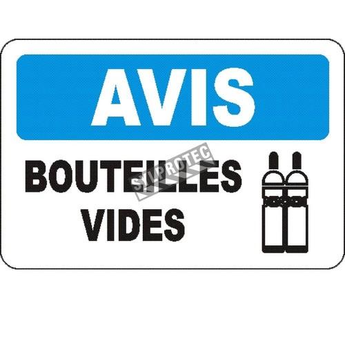 Affiche OSHA «Avis Bouteilles vides» en français: langues, options, formats & matériaux variés