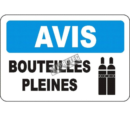 """French OSHA """"Notice Full Cylinders"""" sign in various sizes, materials, languages & optional features"""