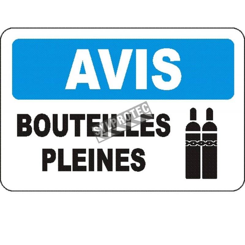 Affiche OSHA «Avis Bouteilles pleines» en français: langues, options, formats & matériaux variés