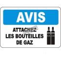 Affiche OSHA «Avis Attachez les bouteilles de gaz» en français: langues, options, formats & matériaux variés