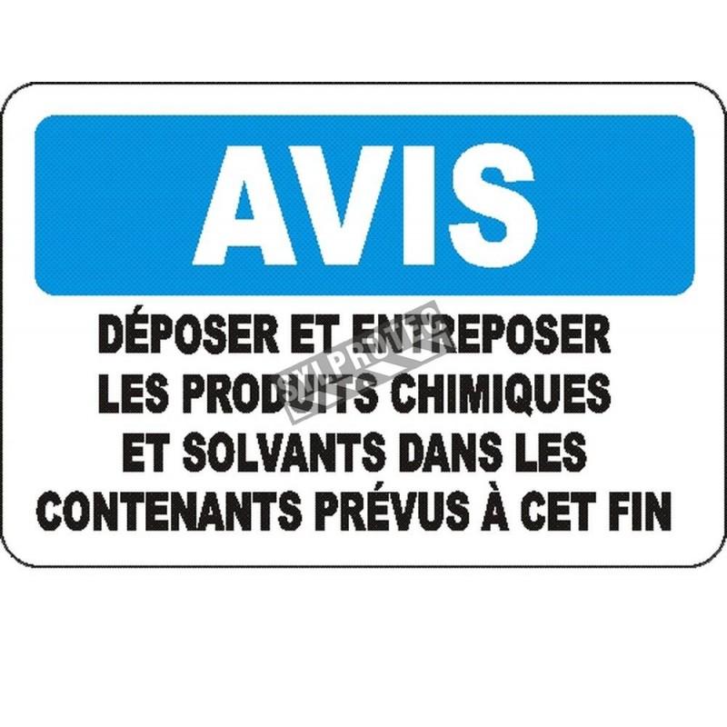 Affiche OSHA «Avis Déposer et entreposer les produits chimiques et solvants dans les contenants prévus à cette fin» avec options