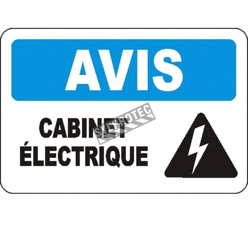 Affiche OSHA «Avis Cabinet électrique» en français: langues, options, formats & matériaux variés