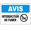 Affiche OSHA «Avis Interdiction de fumer» en français: langues, options, formats & matériaux variés
