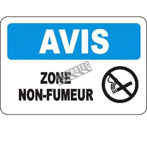 Affiche OSHA «Avis Zone non-fumeur» en français: langues, options, formats & matériaux variés