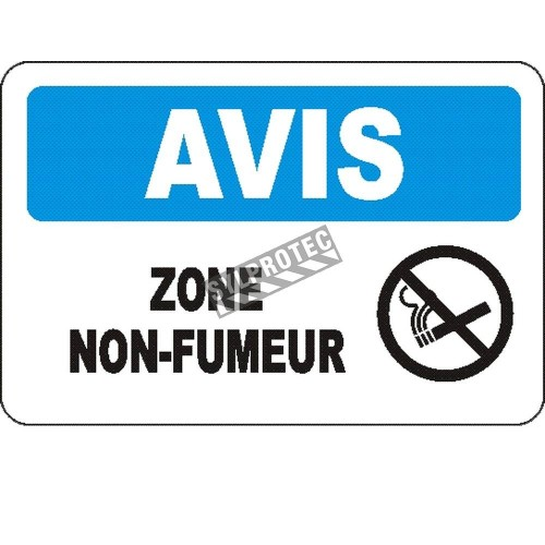 """French OSHA """"Notice Smoke Free Area"""" sign in various sizes, materials, languages & optional features"""