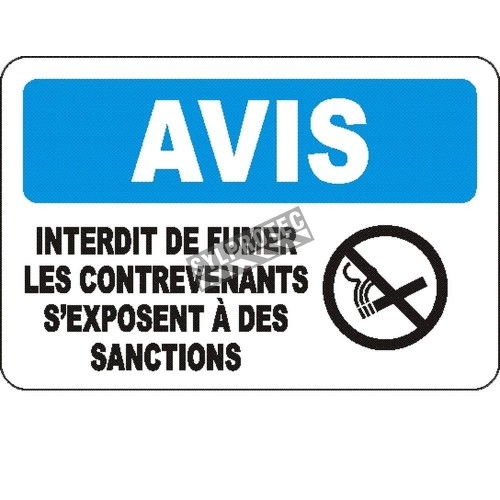 """French OSHA """"Notice No Smoking All Offenders Will Be Prosecuted"""" sign in various sizes, materials, languages & optional features"""