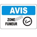 """French OSHA """"Notice Smoking Area"""" sign in various sizes, materials, languages & optional features"""