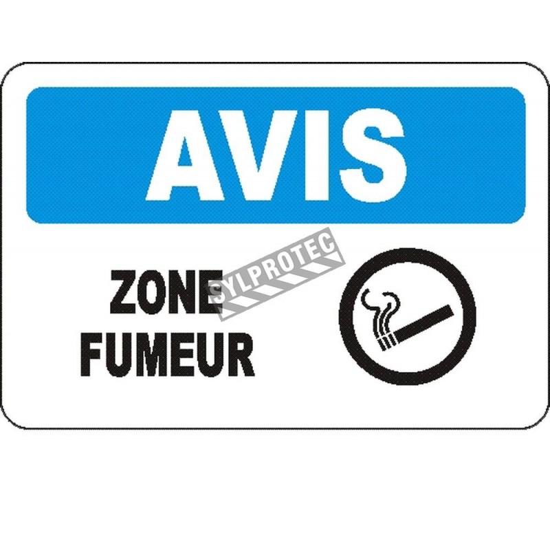 Affiche OSHA «Avis Zone fumeur» en français: langues, options, formats & matériaux variés