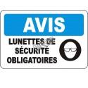 "French OSHA ""Notice Safety Eyewear Mandatory"" sign in various sizes, materials, languages & optional features"